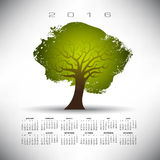 2016 Abstract tree calendar. On a gray background Stock Illustration