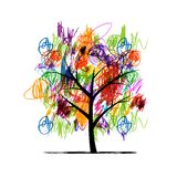 Abstract tree with children paintings Royalty Free Stock Images