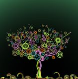 Abstract tree with circle colorful leaves. Vector Royalty Free Stock Photo