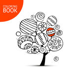Abstract tree with circles. Sketch for your coloring book Stock Image