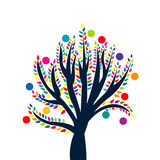 Abstract tree with colored leaves and fruits. Over white Stock Images