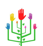Abstract Tree with Colorful Hands Stock Photography