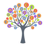 Abstract tree with colorful letters Stock Photos