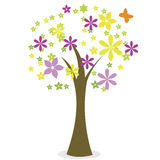 Abstract tree. With different flowers on white background Royalty Free Stock Image