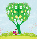 Abstract tree with Easter eggs Stock Image