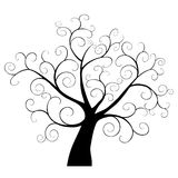 Abstract Tree Element. Swirly abstract tree silhouette.  Design element Royalty Free Stock Photo