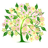 Abstract tree with flowers. 2d vector Royalty Free Stock Photography