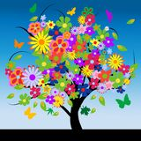 Abstract tree with flowers Royalty Free Stock Photography