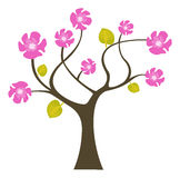 Abstract tree with flowers. Vector illustration royalty free illustration