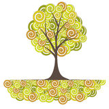 Abstract Tree, Flowers. Vector Illustration Royalty Free Stock Photo