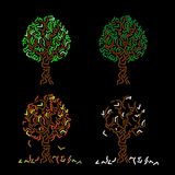 Abstract tree - four seasons Royalty Free Stock Photo