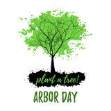 Abstract tree with green foliage. In grunge style isolated on white background. Plant tree in Arbor day. Vector illustration Stock Photography