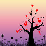 Abstract tree with hearts and floral Royalty Free Stock Photo