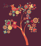 Abstract tree of hearts and flowers. Abstract tree with singing bird, hearts and flowers Stock Image