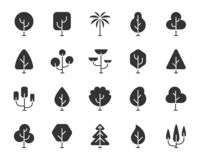 Abstract Tree black silhouette icons vector set. Abstract Tree icons set. Sign kit of nature forest. Geometric Plant pictogram collection includes eco fir royalty free illustration