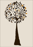 Abstract tree. An illustration of an abstract brown tree with bird Stock Photography