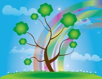 Abstract tree  Illustration spring rainbow Stock Image