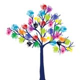 Abstract tree with ink spots. Abstract tree with colored ink spots Stock Photo