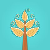 Abstract Tree with Large Yellow Leaves. On Blue Background. Illustration Stock Photo