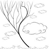 Abstract tree without leaves on a background of clouds. Frame for inscriptions. In the clouds vector illustration