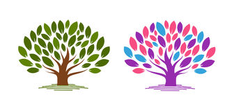 Abstract tree with leaves. Ecology, eco, environment nature icon or logo. Vector illustration Royalty Free Stock Photo