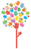 Abstract tree made of color print hands. Tree  is my creative drawing and you can use it for your design, made in , Adobe Illustrator 8 EPS file Royalty Free Stock Images