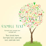 Abstract tree made of colorful vegetables. Healthy vegetarian raw eating concept banner, flier template design. Great design element for labels, menu covers Royalty Free Stock Images