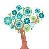 Abstract tree made of flowers. Illustration for your design Royalty Free Stock Image