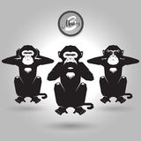 Abstract tree monkeys. Abstract tree wise monkeys on gray background Royalty Free Stock Image