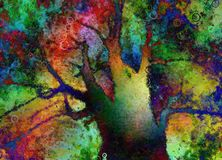 Abstract tree painting. Colorful Abstract Tree. 3D rendering Royalty Free Stock Image