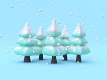 abstract tree-pine forest wood winter nature concept scene cartoon style 3d render vector illustration