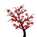 Abstract tree with red fruits Stock Photos