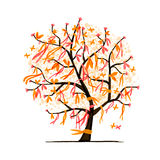 Abstract tree with ribbons for your design stock illustration