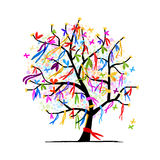 Abstract tree with ribbons for your design royalty free illustration