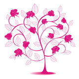Abstract tree with rose Stock Photography