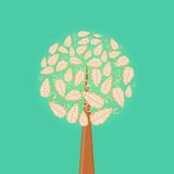 Abstract Tree with Round Leaf Crown Stock Photography