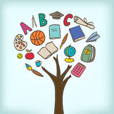 Abstract tree with school utensils Stock Photography