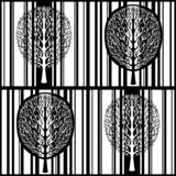 Abstract tree seamless pattern, stylized black and white forest, vintage vector monochrome drawing. Ornate tree with branches and royalty free stock images