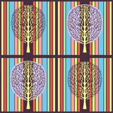 Abstract tree seamless pattern, vector illustration, stylized drawing. Ornate tree with branches and purple crown foliage against royalty free stock image