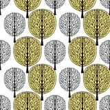 Abstract tree seamless pattern, vector illustration, stylized forest, vintage drawing. Ornate black tree trunks with branches and. Yellow crown foliage on white vector illustration