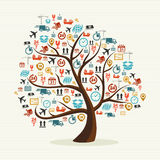 Abstract tree shape colorful shipping icons illust stock photography