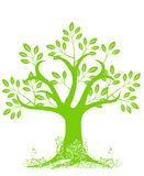 Abstract Tree Silhouette with Leaves and Vines royalty free illustration