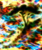 Abstract tree silhouette with multicolor background and fractal effect. Abstract tree silhouette with multicolor background and fractal effect Royalty Free Illustration