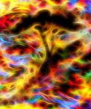 Abstract tree silhouette with multicolor background and fractal effect. Stock Photos