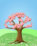 Abstract Tree with Spring Cherry Blossom Flowers. Green Pasture Illustration Stock Photography