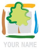 Abstract Tree in Square Element Stock Images