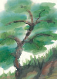 Abstract tree on a steep hill - painting Stock Photo