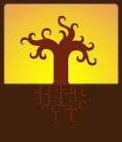 Abstract Tree At Sunset. Vector Illustration of Stylized Abstract Tree at Sunset Stock Images