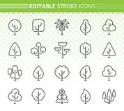 Abstract Tree simple black line icons vector set stock illustration