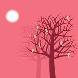 Abstract tree vector with birds Stock Image